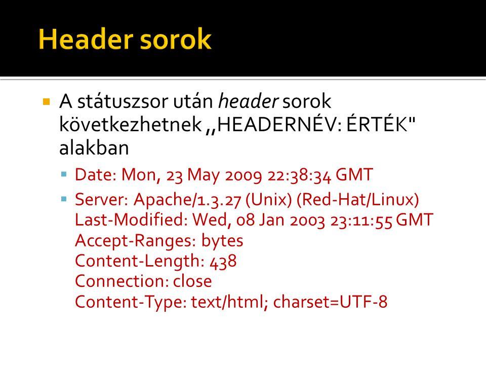 Header sorok A státuszsor után header sorok következhetnek ,,HEADERNÉV: ÉRTÉK alakban. Date: Mon, 23 May 2009 22:38:34 GMT.