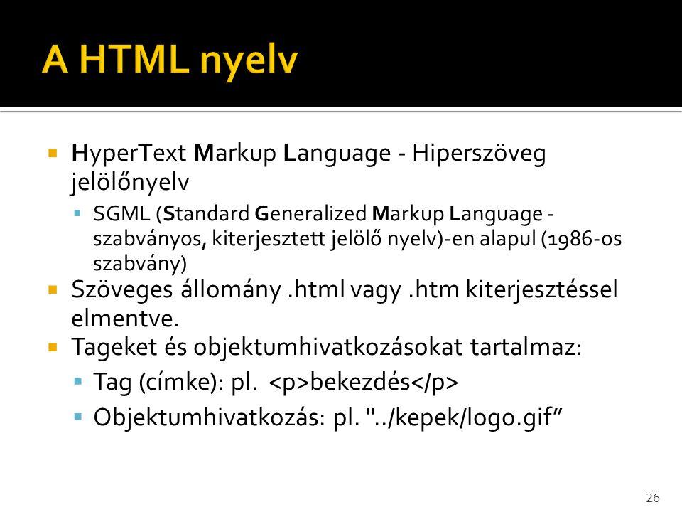 A HTML nyelv HyperText Markup Language - Hiperszöveg jelölőnyelv