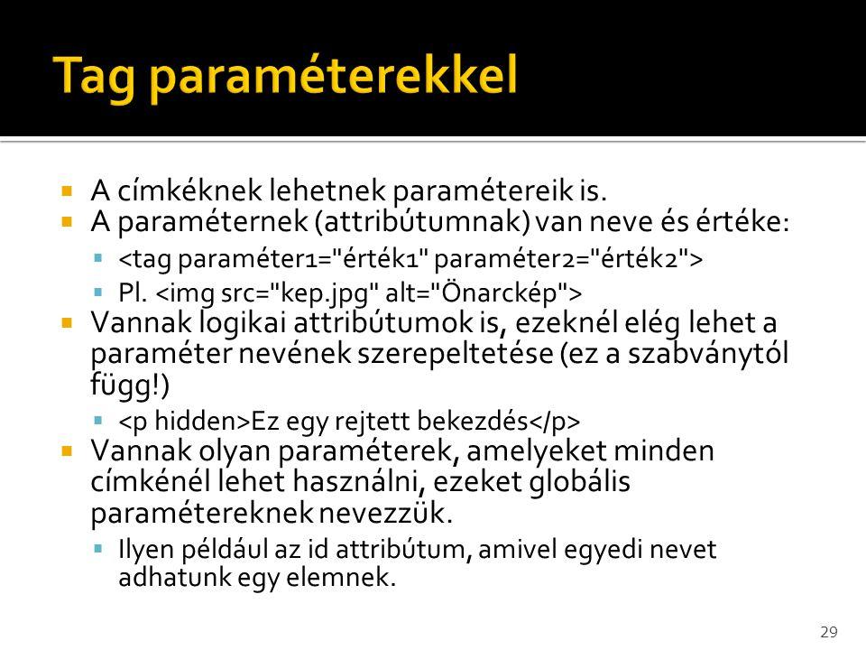 Tag paraméterekkel A címkéknek lehetnek paramétereik is.