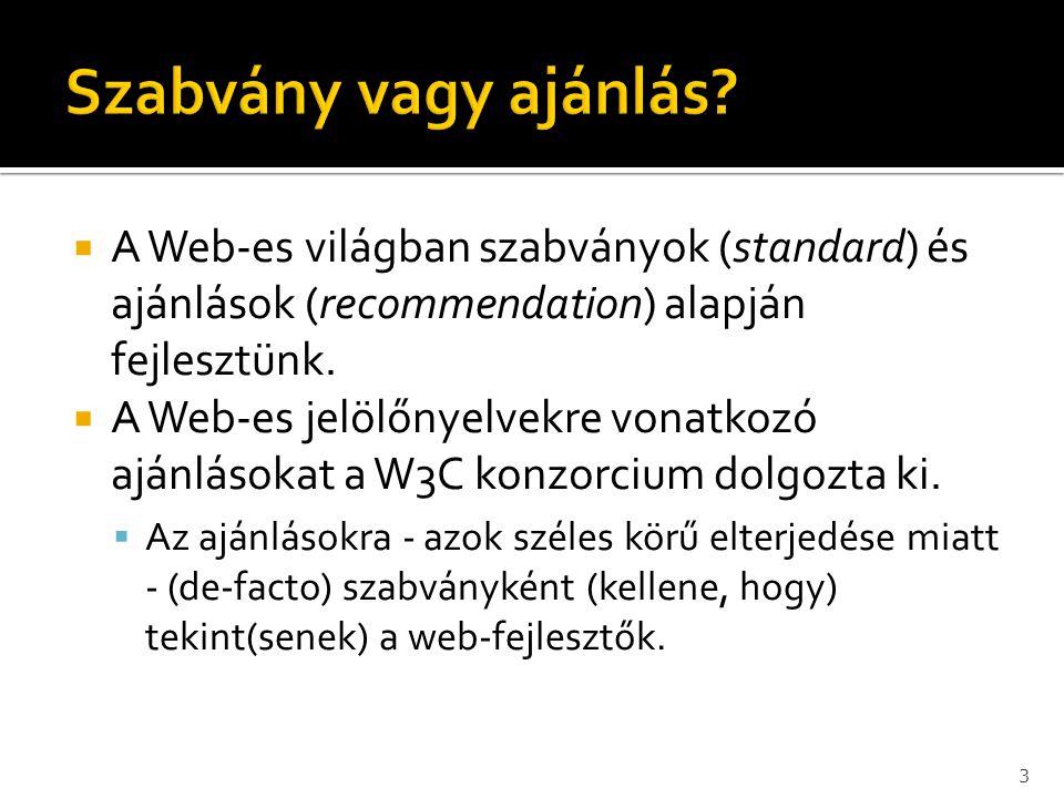 Szabvány vagy ajánlás A Web-es világban szabványok (standard) és ajánlások (recommendation) alapján fejlesztünk.