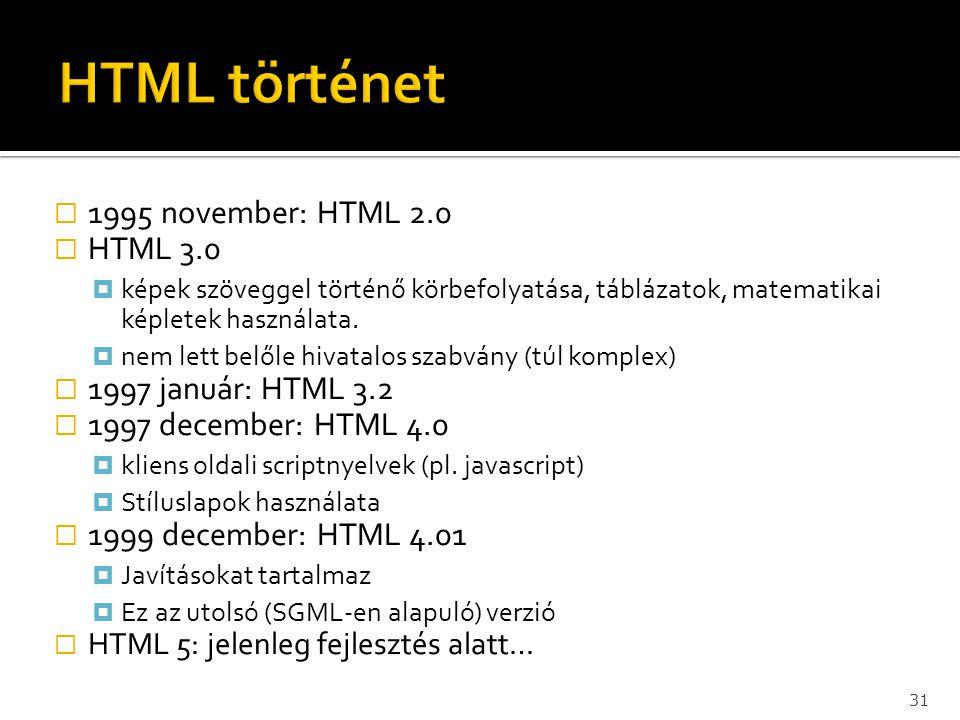 HTML történet 1995 november: HTML 2.0 HTML 3.0 1997 január: HTML 3.2