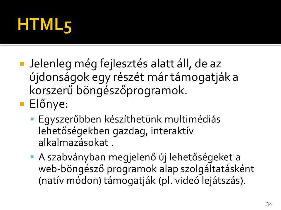 HTML5 Jelenleg még fejlesztés alatt áll, de az újdonságok egy részét már támogatják a korszerű böngészőprogramok.