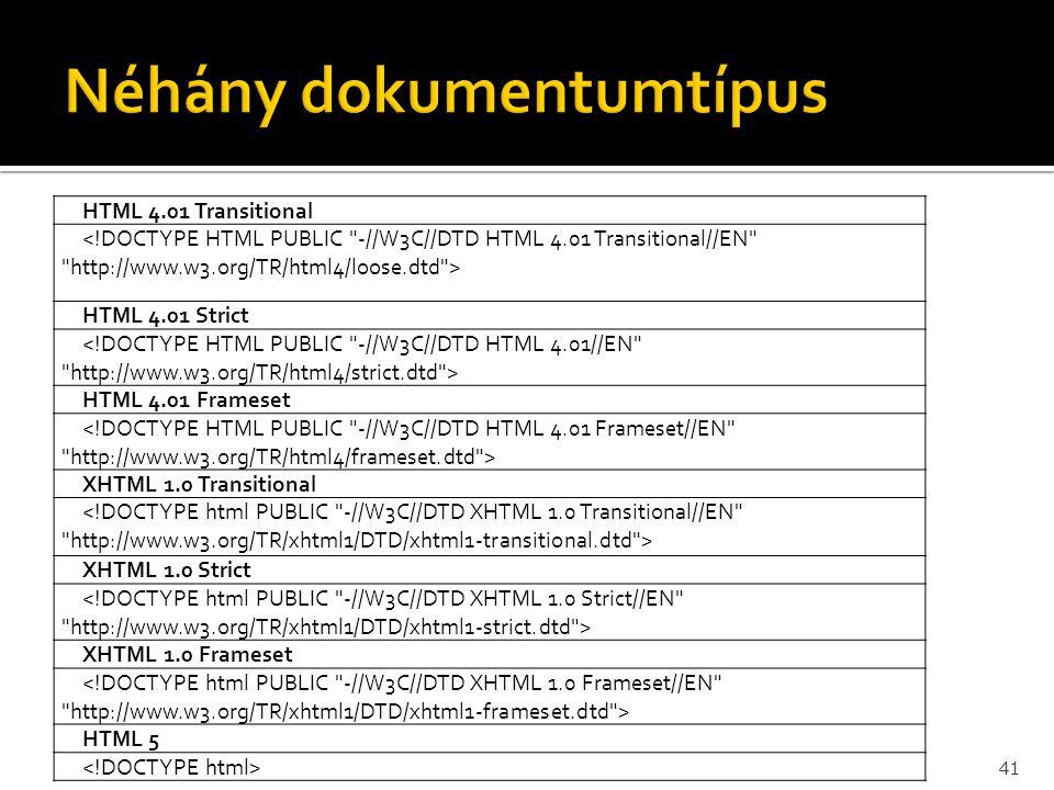 Néhány dokumentumtípus