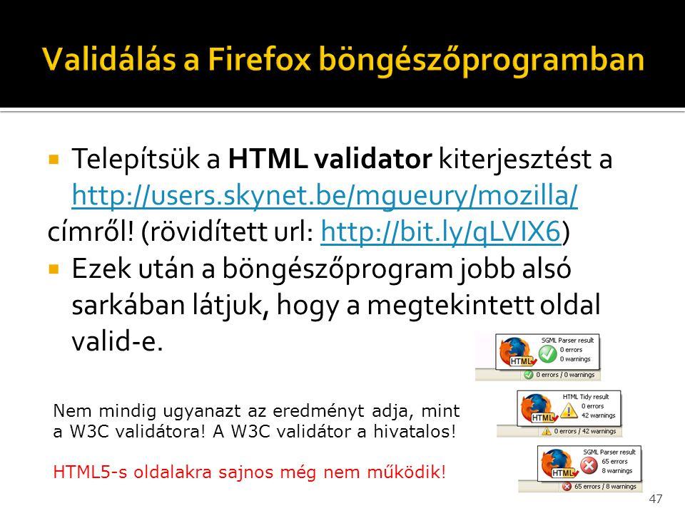 Validálás a Firefox böngészőprogramban
