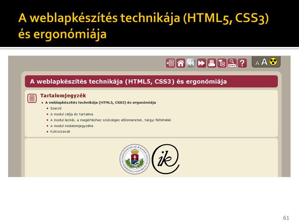A weblapkészítés technikája (HTML5, CSS3) és ergonómiája