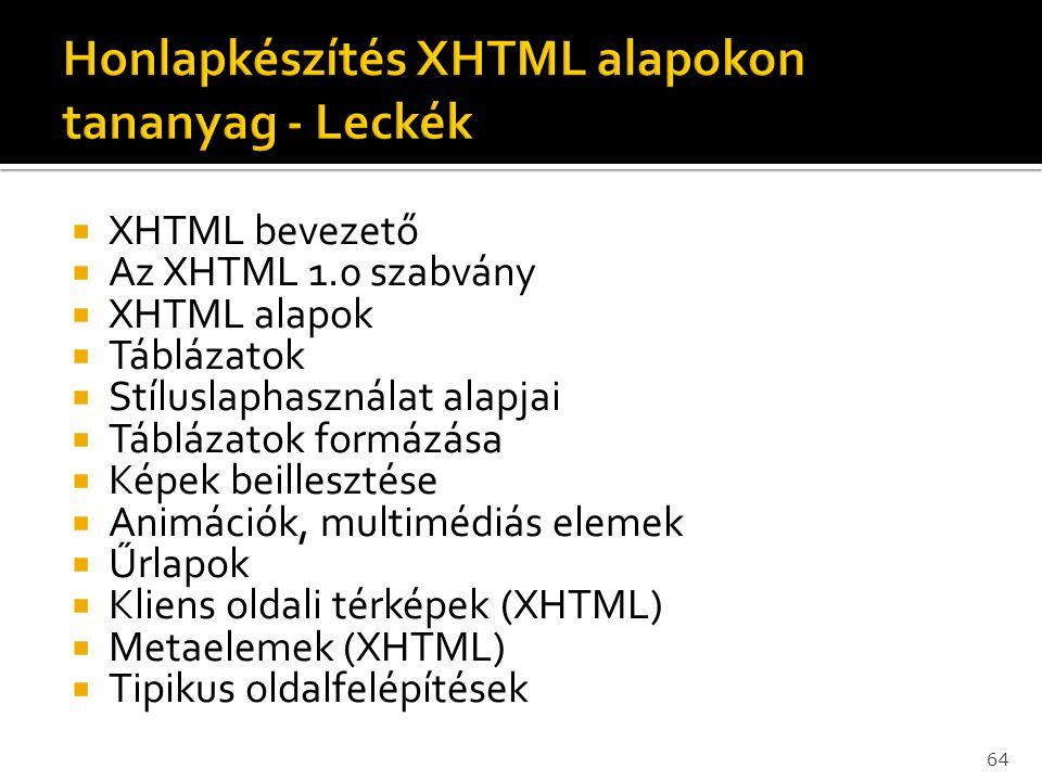 Honlapkészítés XHTML alapokon tananyag - Leckék