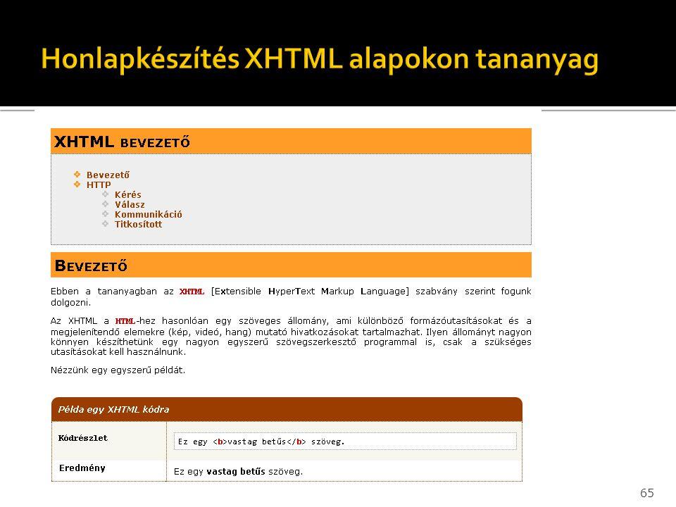 Honlapkészítés XHTML alapokon tananyag