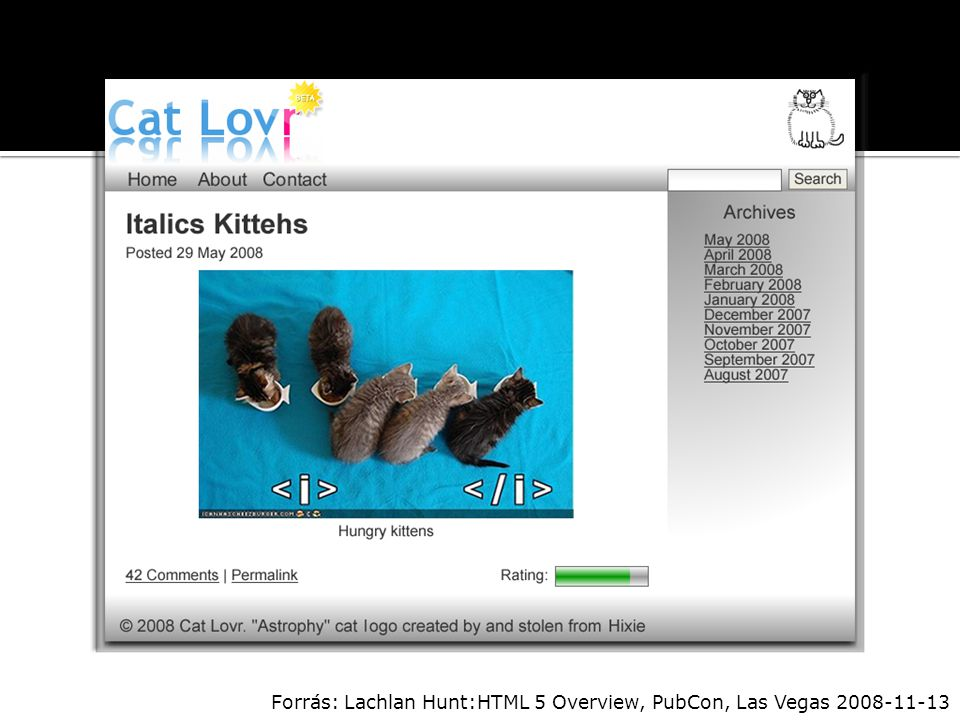 Forrás: Lachlan Hunt:HTML 5 Overview, PubCon, Las Vegas 2008-11-13