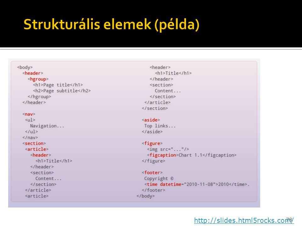 Strukturális elemek (példa)