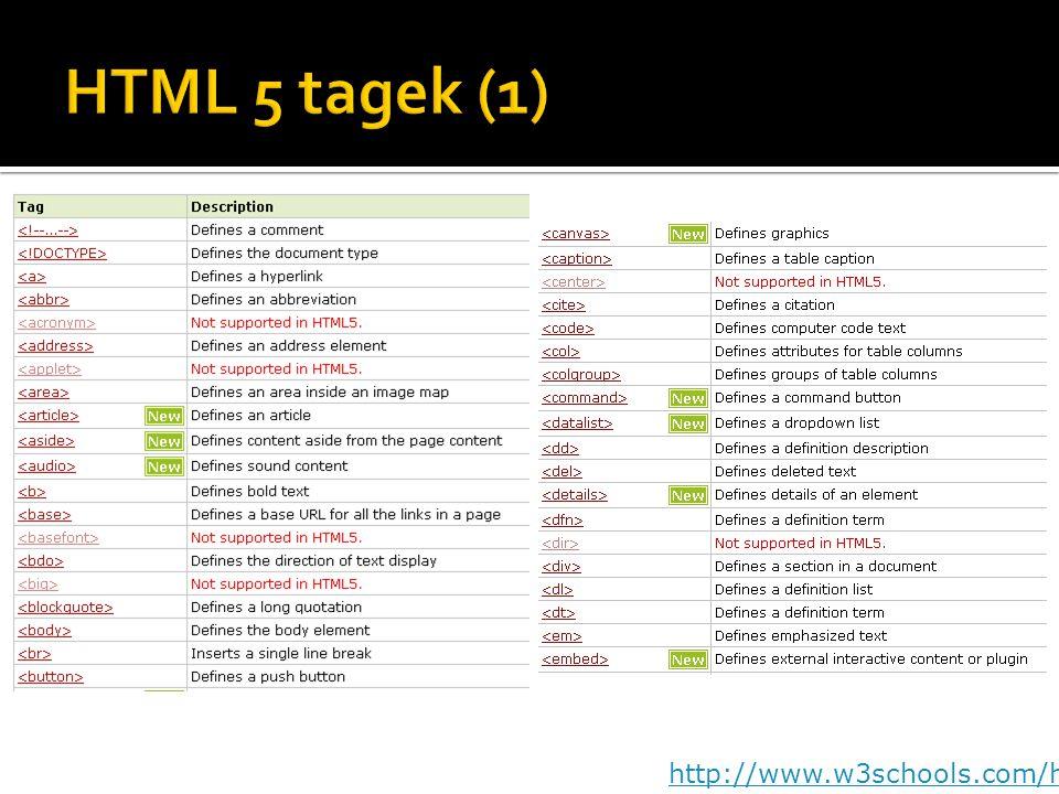 HTML 5 tagek (1) http://www.w3schools.com/html5/