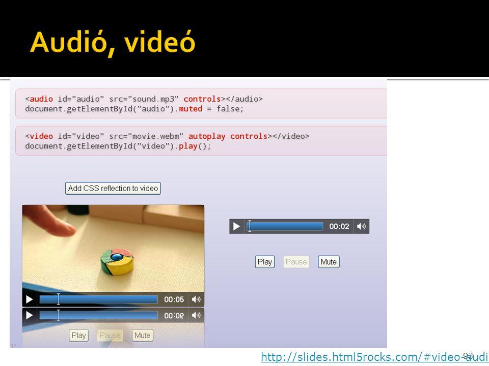 Audió, videó http://slides.html5rocks.com/#video-audio