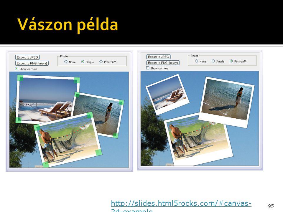 Vászon példa http://slides.html5rocks.com/#canvas-2d-example