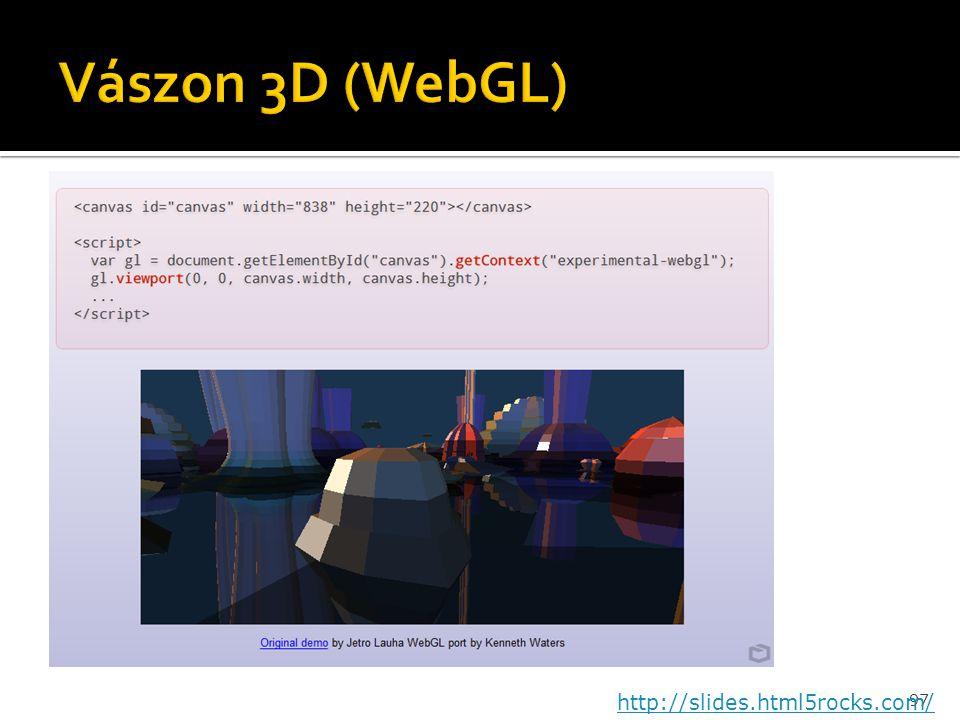 Vászon 3D (WebGL) http://slides.html5rocks.com/