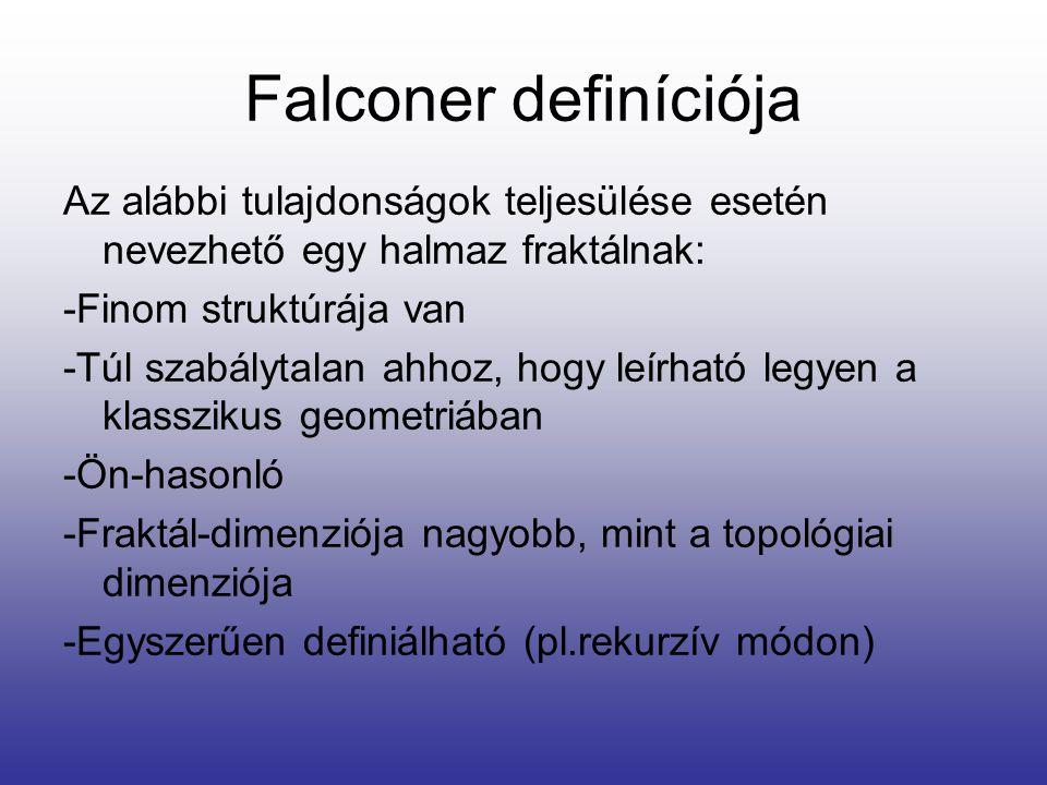 Falconer definíciója Az alábbi tulajdonságok teljesülése esetén nevezhető egy halmaz fraktálnak: -Finom struktúrája van.
