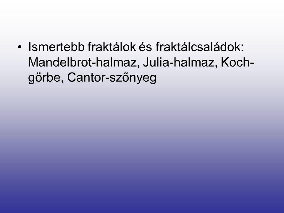 Ismertebb fraktálok és fraktálcsaládok: Mandelbrot-halmaz, Julia-halmaz, Koch-görbe, Cantor-szőnyeg
