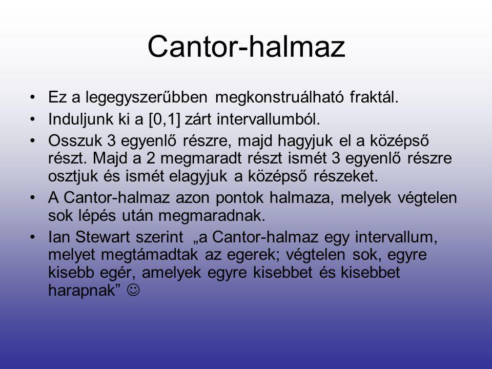 Cantor-halmaz Ez a legegyszerűbben megkonstruálható fraktál.