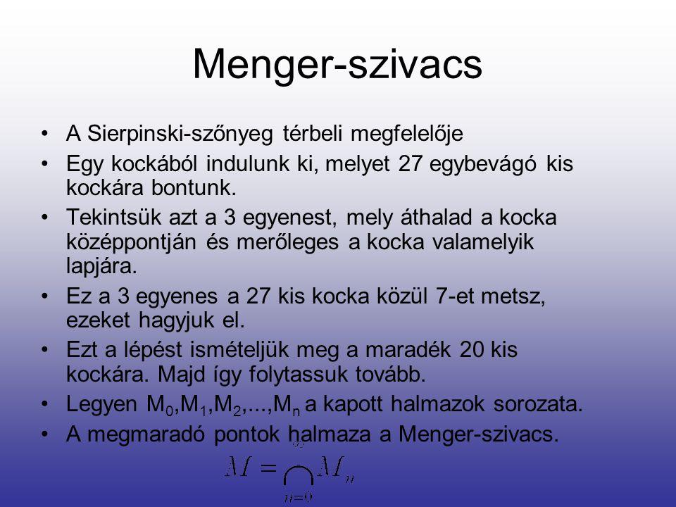 Menger-szivacs A Sierpinski-szőnyeg térbeli megfelelője