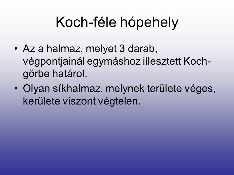 Koch-féle hópehely Az a halmaz, melyet 3 darab, végpontjainál egymáshoz illesztett Koch-görbe határol.