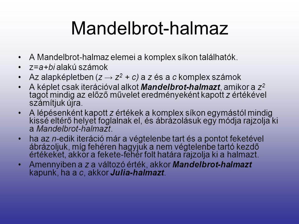 Mandelbrot-halmaz A Mandelbrot-halmaz elemei a komplex síkon találhatók. z=a+bi alakú számok.