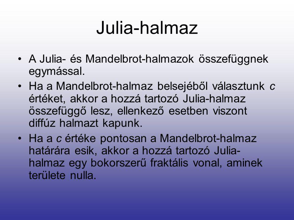Julia-halmaz A Julia- és Mandelbrot-halmazok összefüggnek egymással.