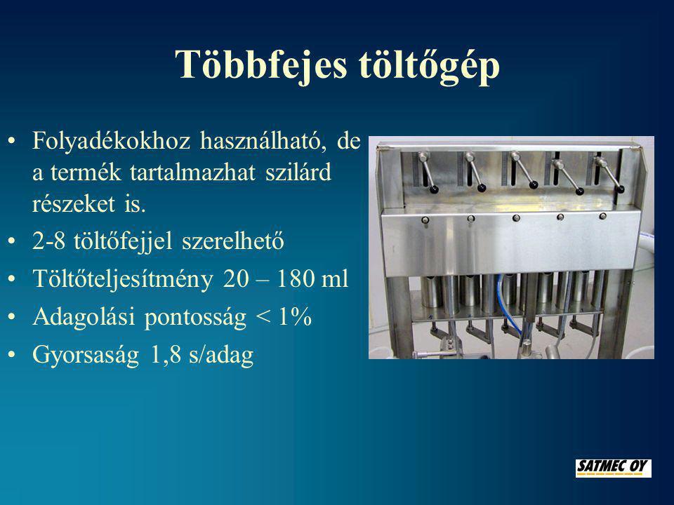 Többfejes töltőgép Folyadékokhoz használható, de a termék tartalmazhat szilárd részeket is. 2-8 töltőfejjel szerelhető.