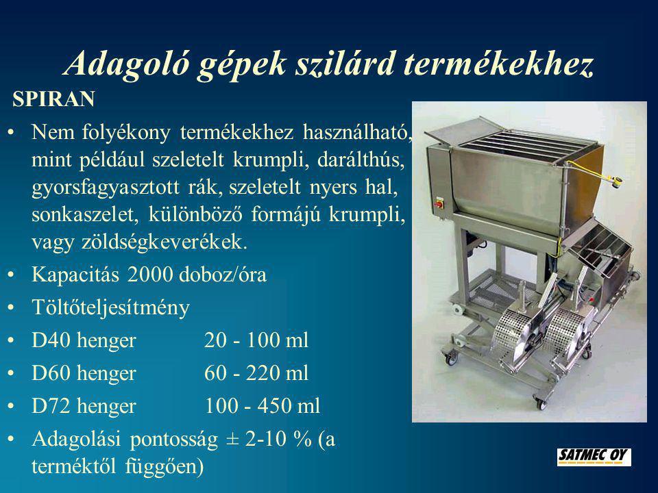 Adagoló gépek szilárd termékekhez