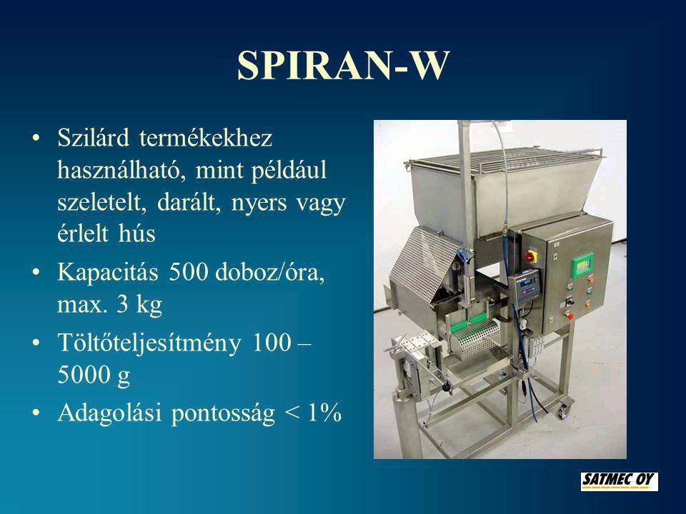 SPIRAN-W Szilárd termékekhez használható, mint például szeletelt, darált, nyers vagy érlelt hús. Kapacitás 500 doboz/óra, max. 3 kg.