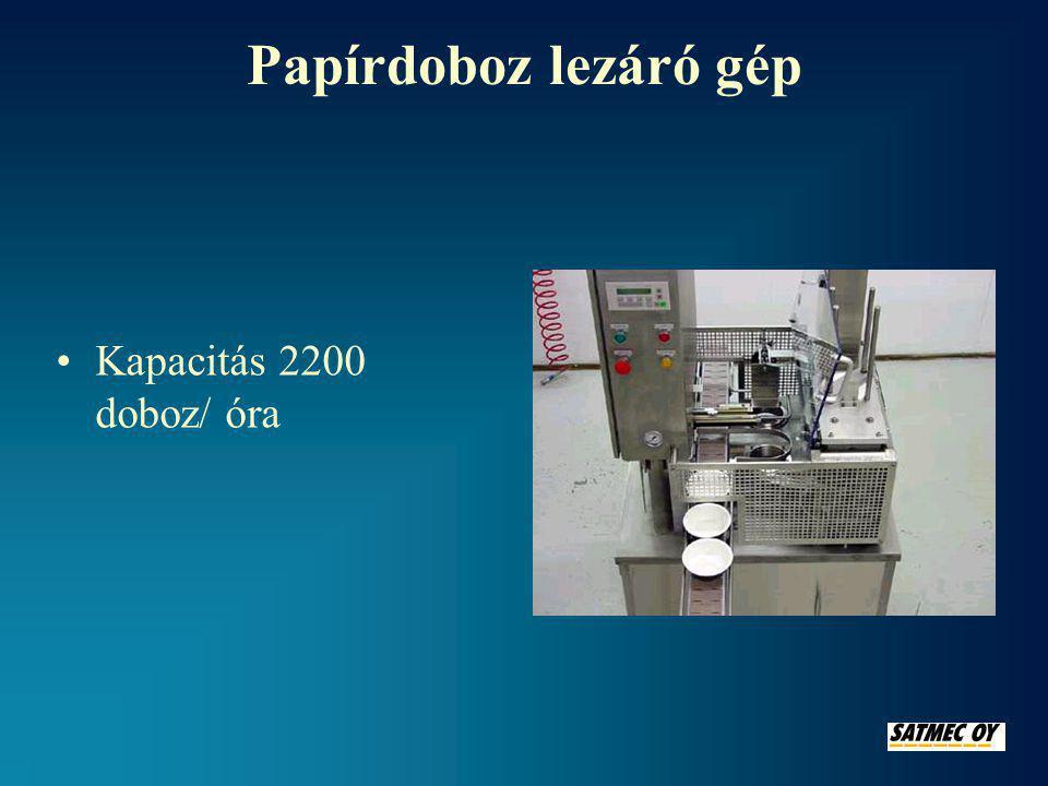 Papírdoboz lezáró gép Kapacitás 2200 doboz/ óra