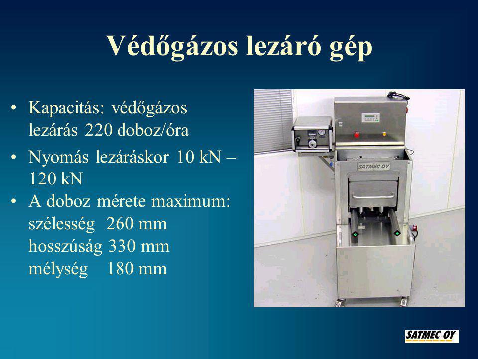 Védőgázos lezáró gép Kapacitás: védőgázos lezárás 220 doboz/óra