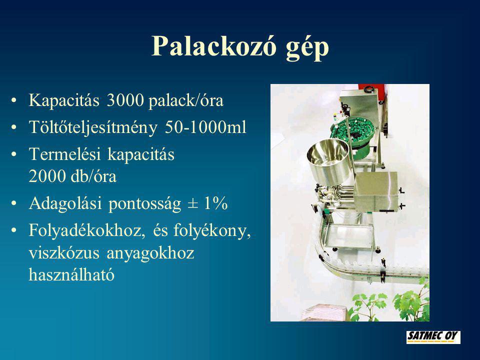 Palackozó gép Kapacitás 3000 palack/óra Töltőteljesítmény 50-1000ml