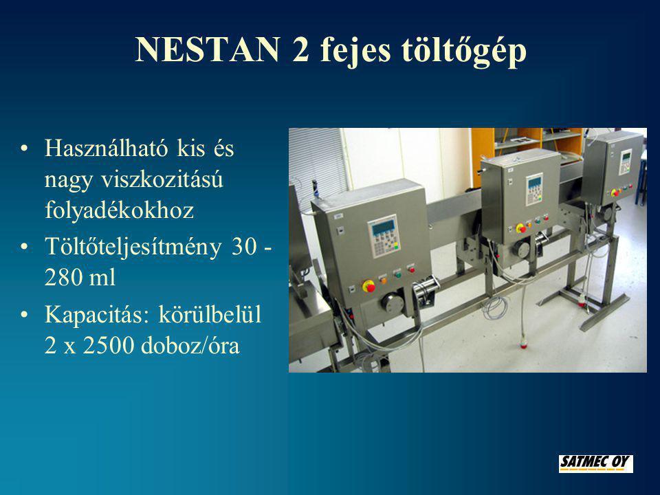 NESTAN 2 fejes töltőgép Használható kis és nagy viszkozitású folyadékokhoz. Töltőteljesítmény 30 - 280 ml.