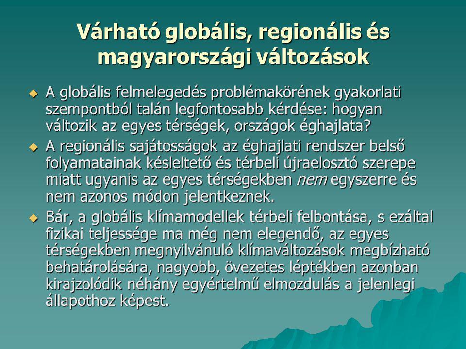 Várható globális, regionális és magyarországi változások
