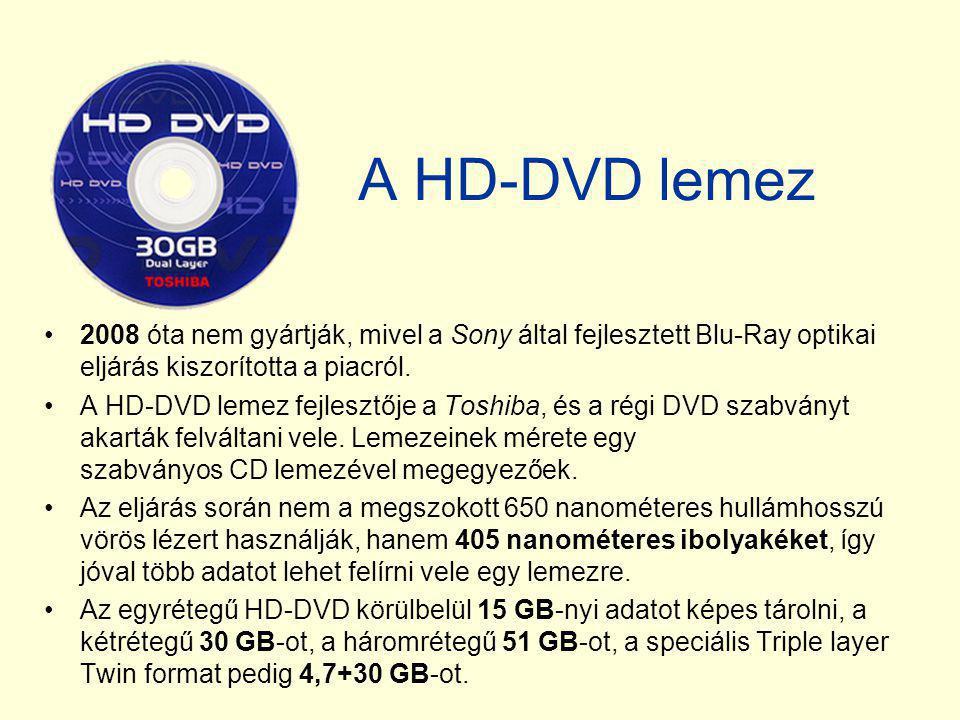 A HD-DVD lemez 2008 óta nem gyártják, mivel a Sony által fejlesztett Blu-Ray optikai eljárás kiszorította a piacról.