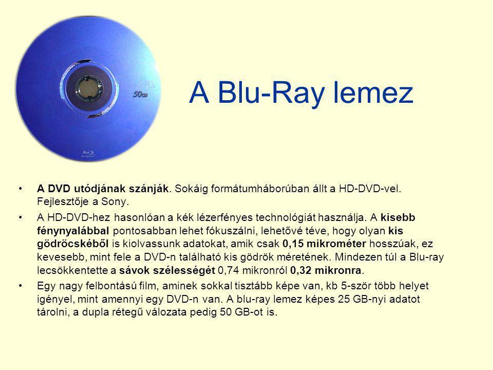 A Blu-Ray lemez A DVD utódjának szánják. Sokáig formátumháborúban állt a HD-DVD-vel. Fejlesztője a Sony.