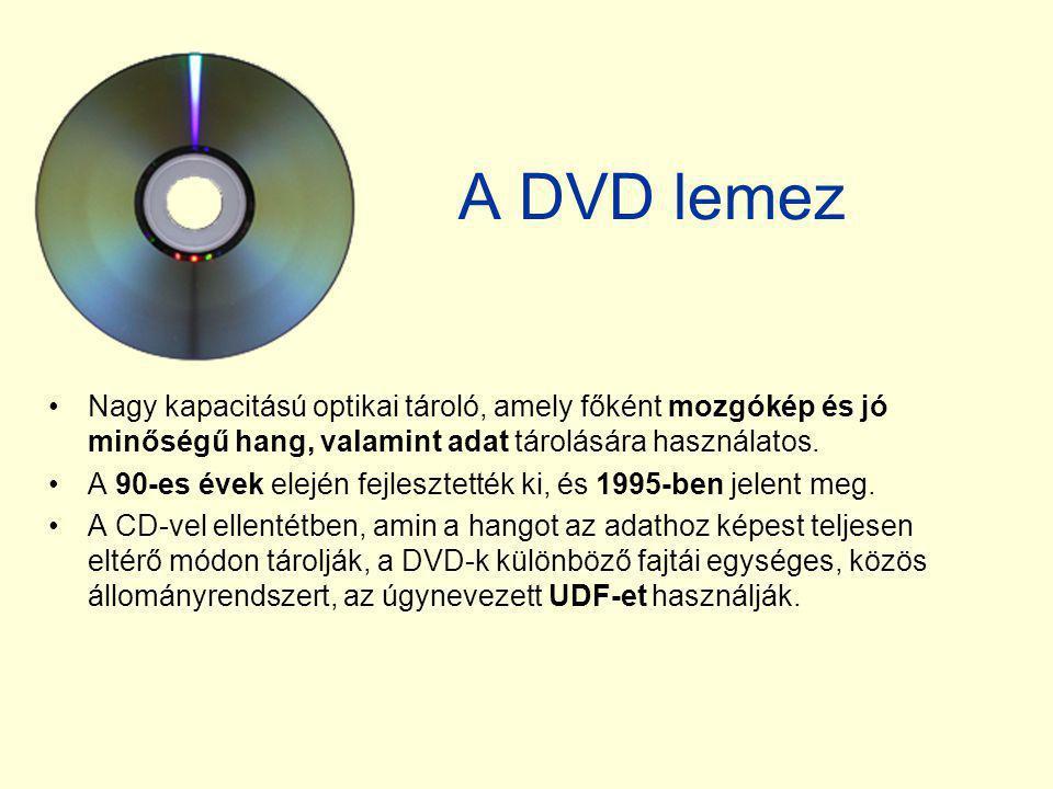 A DVD lemez Nagy kapacitású optikai tároló, amely főként mozgókép és jó minőségű hang, valamint adat tárolására használatos.