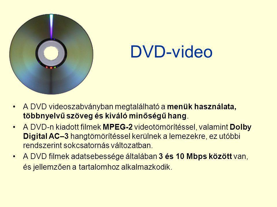 DVD-video A DVD videoszabványban megtalálható a menük használata, többnyelvű szöveg és kiváló minőségű hang.