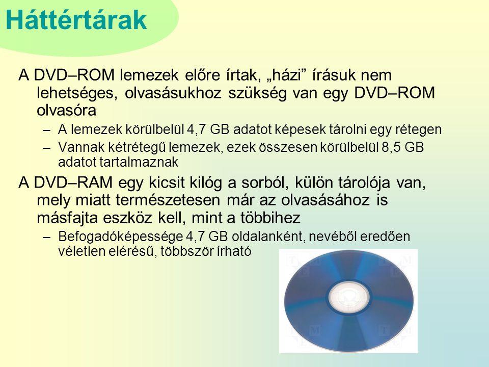 """A DVD–ROM lemezek előre írtak, """"házi írásuk nem lehetséges, olvasásukhoz szükség van egy DVD–ROM olvasóra"""