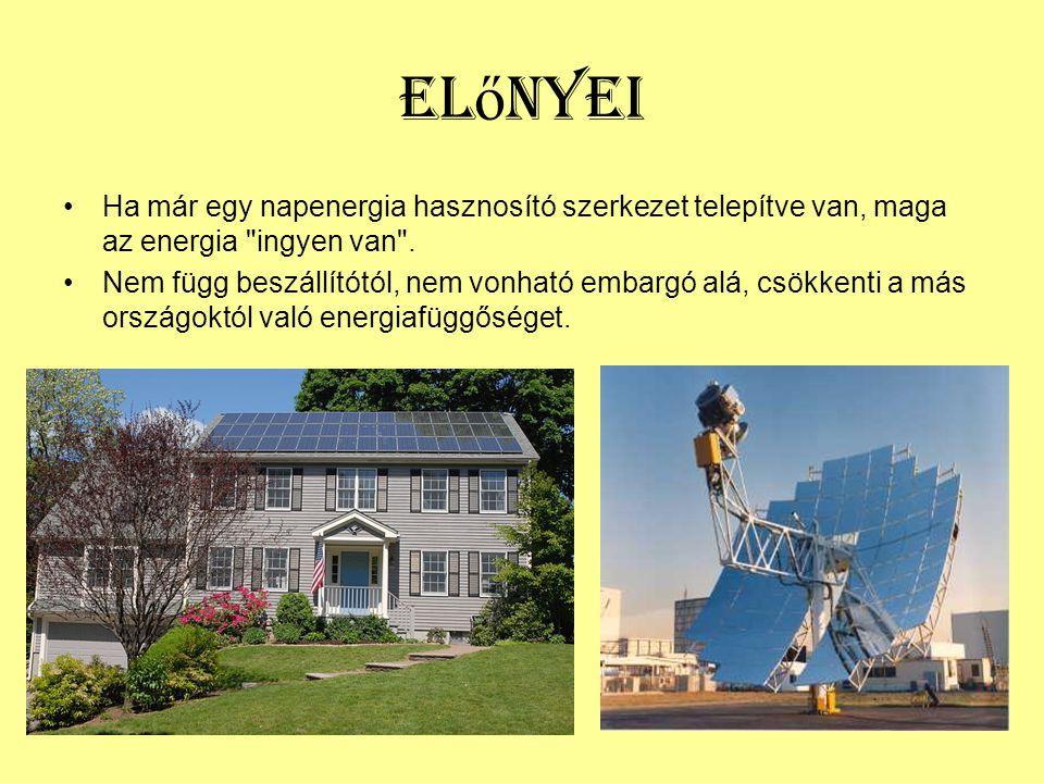 Előnyei Ha már egy napenergia hasznosító szerkezet telepítve van, maga az energia ingyen van .