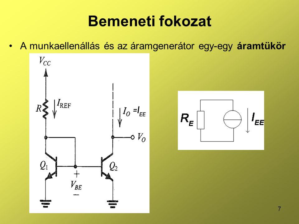 Bemeneti fokozat A munkaellenállás és az áramgenerátor egy-egy áramtükör