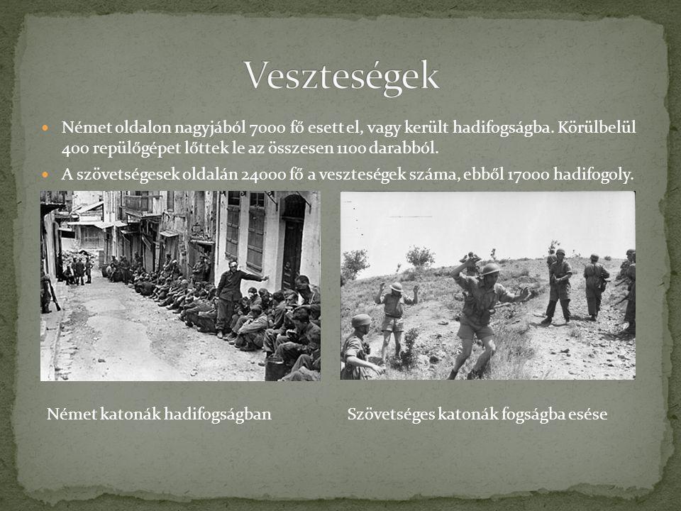 Veszteségek Német oldalon nagyjából 7000 fő esett el, vagy került hadifogságba. Körülbelül 400 repülőgépet lőttek le az összesen 1100 darabból.