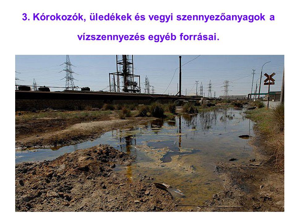 3. Kórokozók, üledékek és vegyi szennyezőanyagok a vízszennyezés egyéb forrásai.