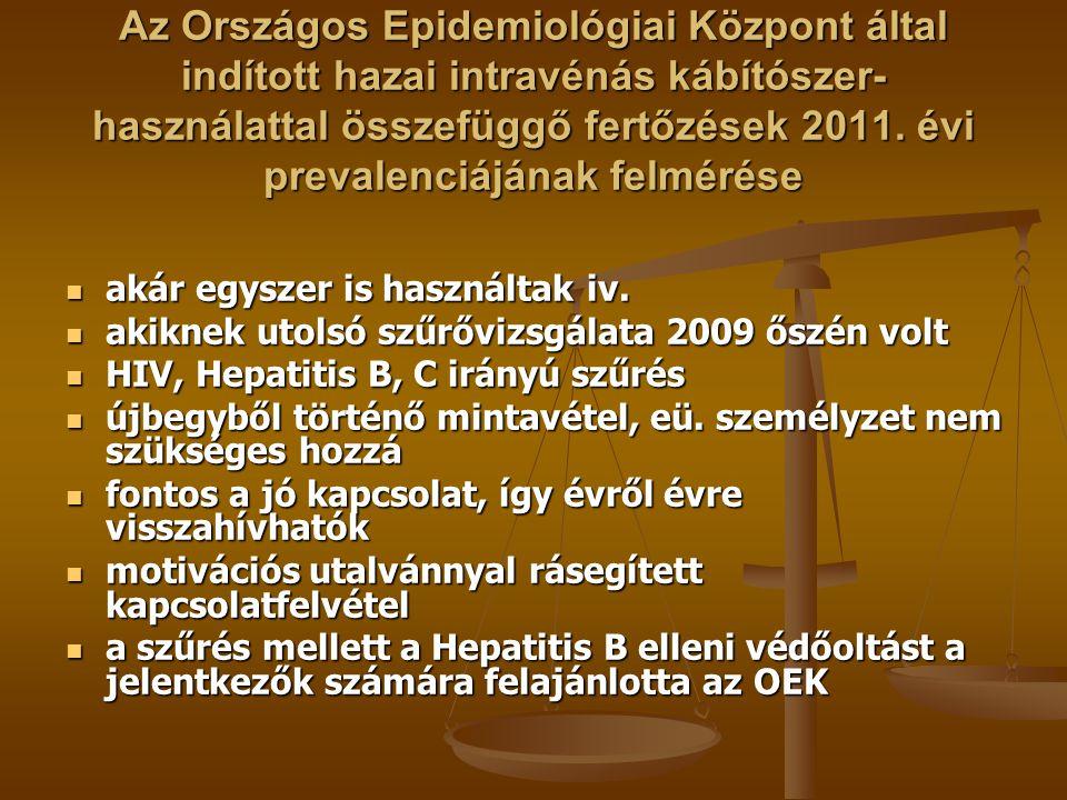 Az Országos Epidemiológiai Központ által indított hazai intravénás kábítószer- használattal összefüggő fertőzések 2011. évi prevalenciájának felmérése