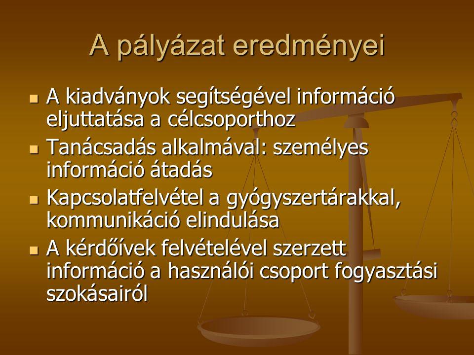 A pályázat eredményei A kiadványok segítségével információ eljuttatása a célcsoporthoz. Tanácsadás alkalmával: személyes információ átadás.