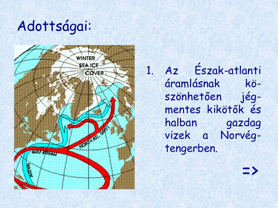 Adottságai: Az Észak-atlanti áramlásnak kö-szönhetően jég-mentes kikötők és halban gazdag vizek a Norvég-tengerben.