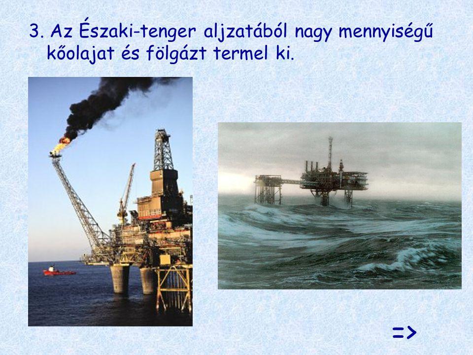 3. Az Északi-tenger aljzatából nagy mennyiségű kőolajat és fölgázt termel ki.