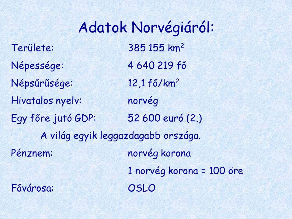 Adatok Norvégiáról: Területe: 385 155 km2 Népessége: 4 640 219 fő