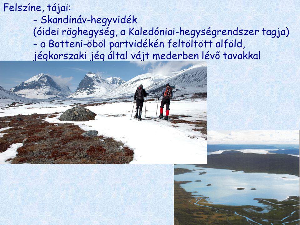 Felszíne, tájai:. - Skandináv-hegyvidék