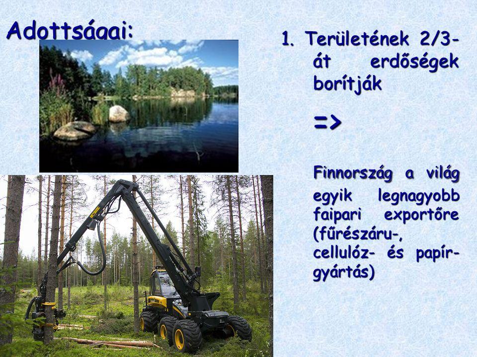 Adottságai: 1. Területének 2/3-át erdőségek borítják. =>