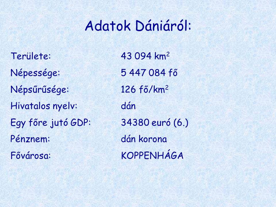 Adatok Dániáról: Területe: 43 094 km2 Népessége: 5 447 084 fő
