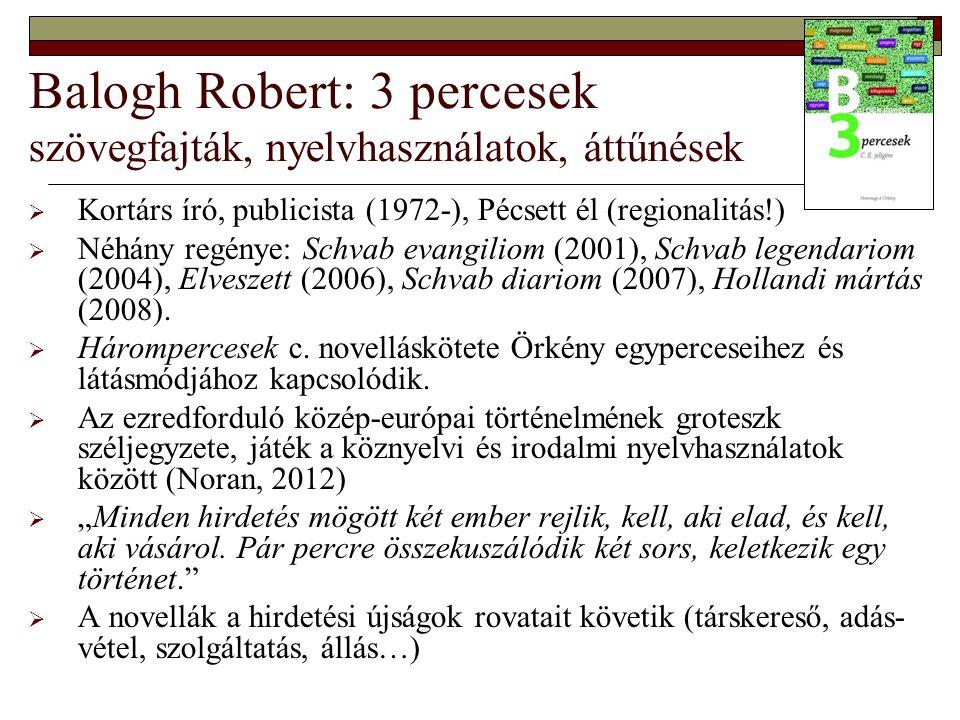 Balogh Robert: 3 percesek szövegfajták, nyelvhasználatok, áttűnések